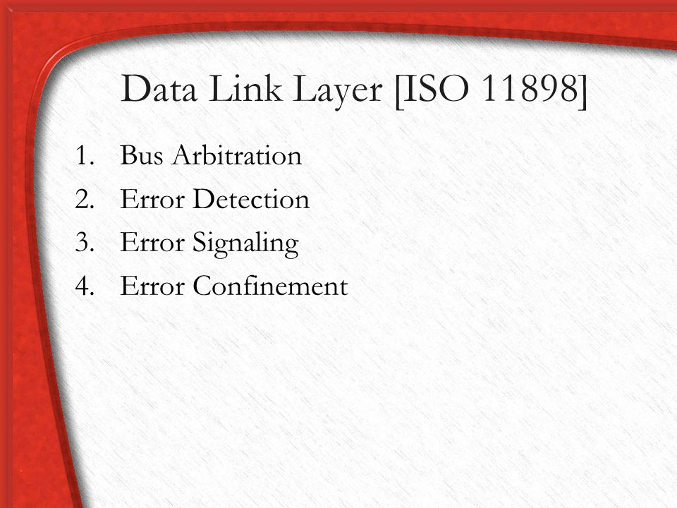 Data Link Layer [ISO 11898] Bus Arbitration Error Detection